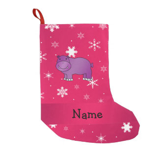 Personalized name hippo pink snowflakes small christmas stocking