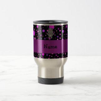 Personalized name hippo purple polka dots travel mug