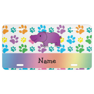 Personalized name hippo rainbow paws license plate
