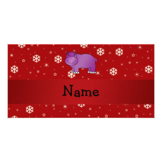 Personalized name hippo red snowflakes personalized photo card