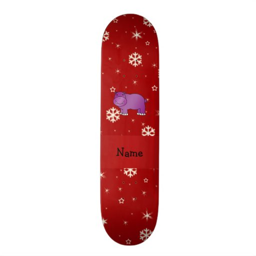 Personalized name hippo red snowflakes skateboard deck