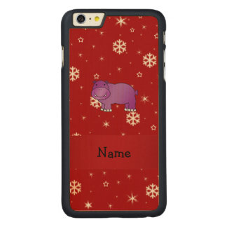 Personalized name hippo red snowflakes carved® maple iPhone 6 plus case