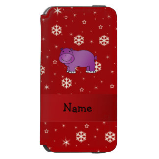 Personalized name hippo red snowflakes incipio watson™ iPhone 6 wallet case