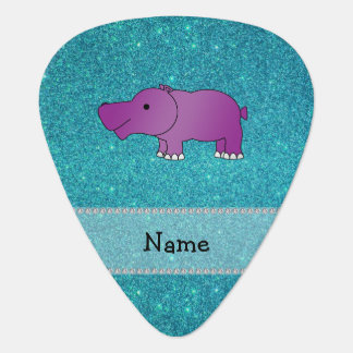 Personalized name hippo turquoise glitter guitar pick