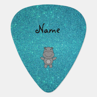 Personalized name hippo turquoise glitter pick