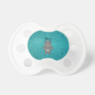 Personalized name hippo turquoise glitter baby pacifiers