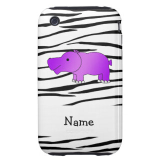Personalized name hippo zebra stripes iPhone 3 tough cases