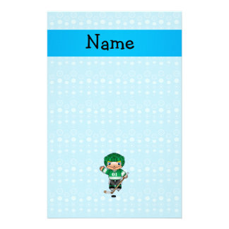 Personalized name hockey player blue bubbles stationery
