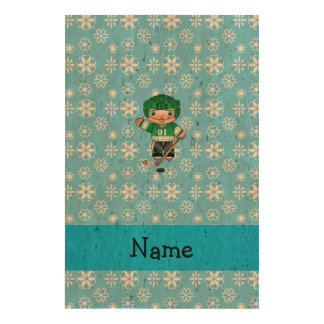 Personalized name hockey player blue snowflakes cork paper print