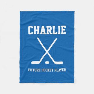 Personalized name hockey player fleece blanket