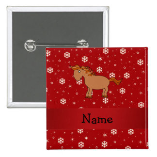 Personalized name horse red snowflakes buttons