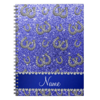 Personalized name horseshoes neon blue glitter notebook