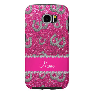Personalized name horseshoes neon hot pink glitter samsung galaxy s6 cases