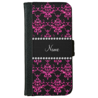 Personalized name hot pink glitter damask iPhone 6 wallet case
