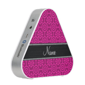 Personalized name hot pink retro flowers speaker