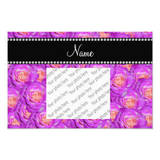 Personalized name hot pink roses photograph