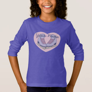 Personalized Name Ice Skating Heart Skates T-Shirt