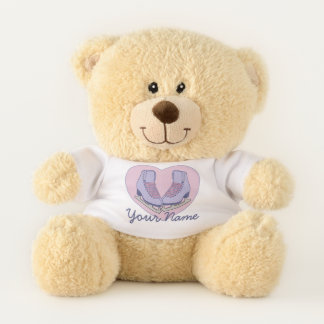 Personalized Name Ice Skating Heart Skates Teddy Bear