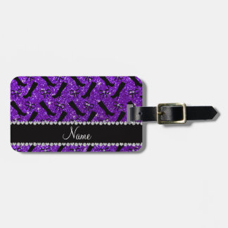 Personalized name indigo purple glitter boots bows luggage tag