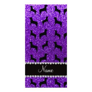 Personalized name indigo purple glitter dogs picture card