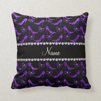 Personalized name indigo purple glitter high heels throw pillow