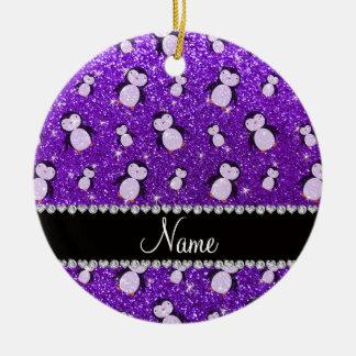 Personalized name indigo purple glitter penguins ceramic ornament