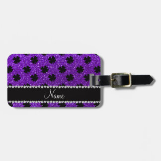 Personalized name indigo purple glitter shamrocks luggage tag