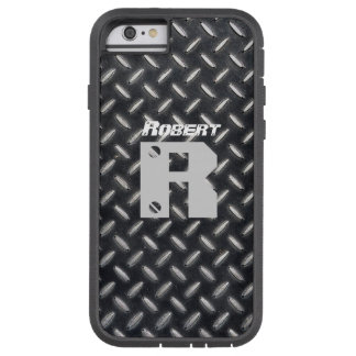 Personalized Name & Initial Diamond Plate Pattern- Tough Xtreme iPhone 6 Case