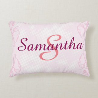 Personalized Name & Initial Pink - Accent Pillow