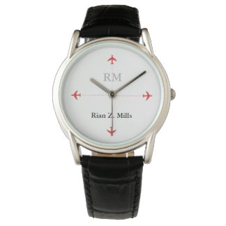 personalized name + initials airplanes watch