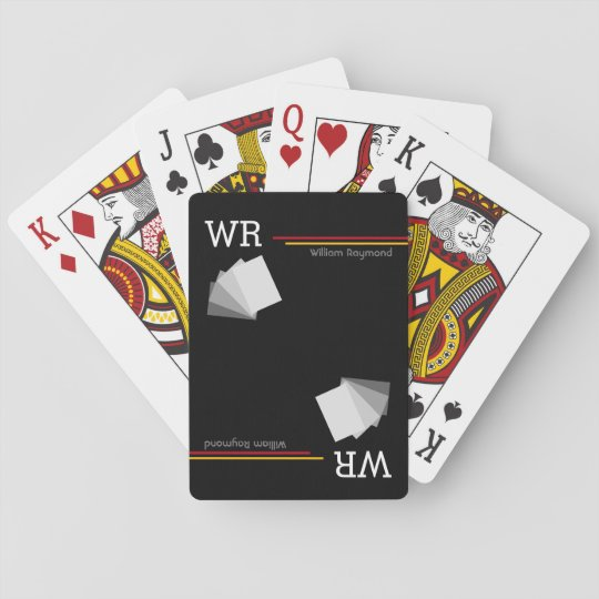 personalized name initials black playing cards