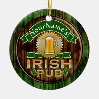 Personalized Name Irish Pub Sign St. Patrick's Day Round Ceramic Ornament