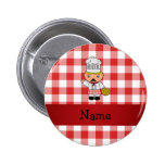 Personalized name italian chef red white checkers