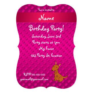 Personalized name kangaroo pink polka dots card