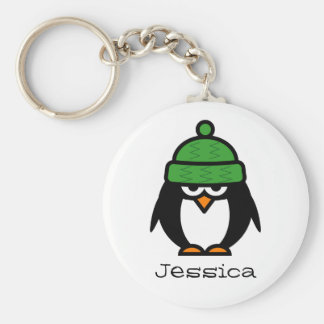 Personalized name keychain for penguin lovers