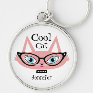 Personalized Name Keychain Pink Retro Cat