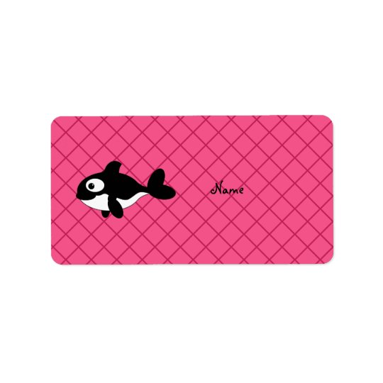 Personalized name killer whale pink grid pattern