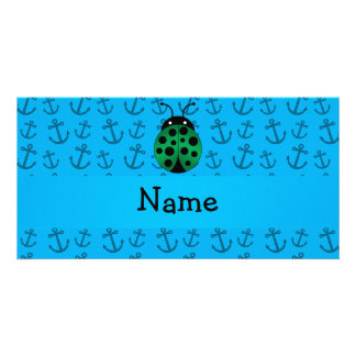 Personalized name ladybug blue anchors pattern picture card