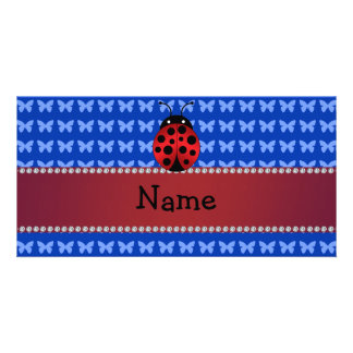 Personalized name ladybug blue butterflies customized photo card
