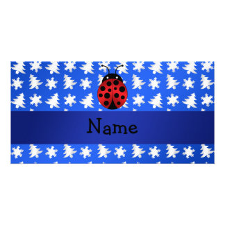 Personalized name ladybug blue snowflakes trees photo card template
