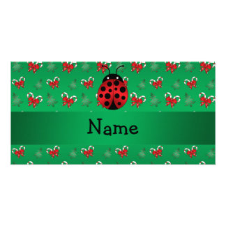Personalized name ladybug green candy canes bows picture card