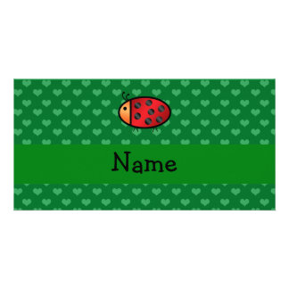 Personalized name ladybug green hearts personalized photo card