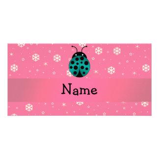 Personalized name ladybug light pink snowflakes personalized photo card