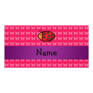 Personalized name ladybug pink butterflies photo greeting card