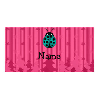 Personalized name ladybug pink christmas trees picture card