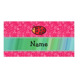 Personalized name ladybug pink floral pattern picture card