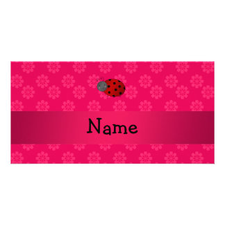 Personalized name ladybug pink flowers photo card template