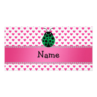 Personalized name ladybug pink hearts polka dots picture card