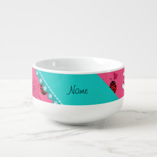 Personalized name ladybug pink santa hats soup mug