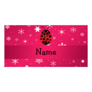 Personalized name ladybug pink snowflakes picture card
